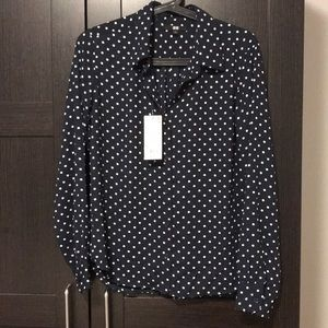d1f1edbeec720c Uniqlo Polka dot navy brand new shirt blouse